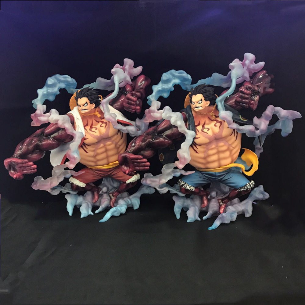 KUMALAZY One Piece Luffy Gear Fourth Monkey D Luffy Effect Sence 28CM PVC Action Figure Model Chirstmas Gift anime one piece monkey d luffy gear fourth pvc action figure collection model toy