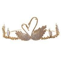 Luxury Clear Rhinestone Lovers Animal Swan Crown Tiaras Wedding Hair Jewelry Sets For Women Bridal Tassel Earrings Gift HG244 B