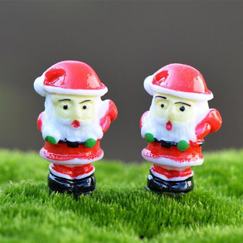 Christmas Decoration Santa Claus Miniature Figurine Fairy Garden Ornament  Building Statue Love Gift Resin Craft Kids Toy TNA131