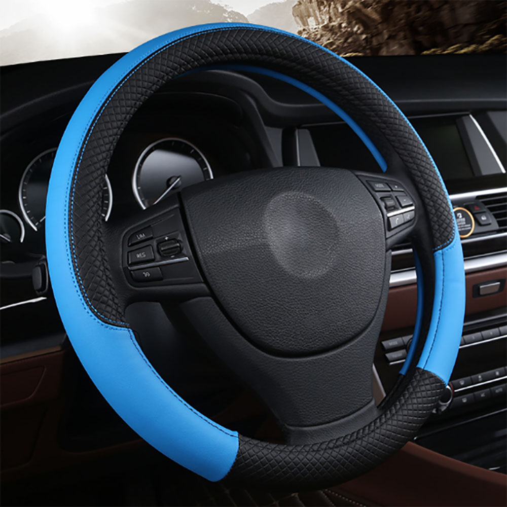 Fashion Style Faux Leather Steering Wheel Cover 5 Colors Option Universal Four Season Steering-wheel Covers Fits Most Car