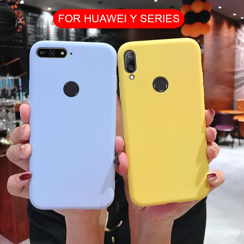 matte silicone phone <font><b>case</b></font> on for <font><b>huawei</b></font> y5 y6 <font><b>y7</b></font> prime y3 y9 2018 2017 <font><b>2019</b></font> y5 ii 2 candy color soft tpu back cover fundas coque image