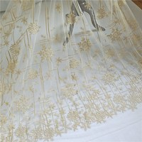 Alibaba express 1 Yard gold lace fabric embroidery design for making dress nice! Quality mesh embroidered tailoring materials