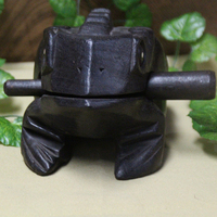 Southeast Asian Handmade Wood Sculpture Black Solid Wood Treasures Fill Auspicious Thailand Traditional Craft Wooden Lucky Frogs