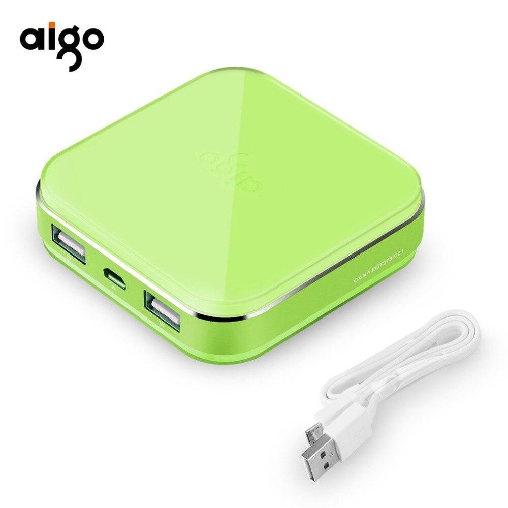 Aigo Puissance Banque Puissance banque pour xiaomi Mi Ultra Mince 10000 mAh Powerbank pour iPhone 4 5 6 7 SE Mobile Téléphone Batterie Externe puissance