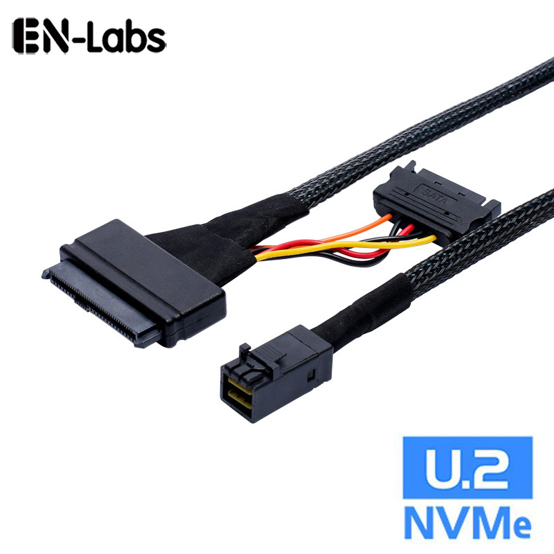 En-Labs Internal HD Mini SAS SFF-8643 to U.2 SFF-8639 NVMe PCIe SSD Adapter Cable with SATA Power for Intel SSD 750 P3600 P3700