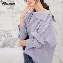 Apparel Elegant bow blue off shoulder female top shirt Sexy summer girls white t shirt Women tops striped blusas