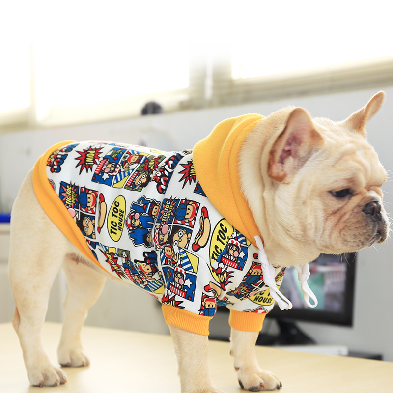 French Bulldog Corgi Pug Dog Small And Medium Pet Clothing Spring And Autumn Cute Monkey Doodle Print Hooded Sweater