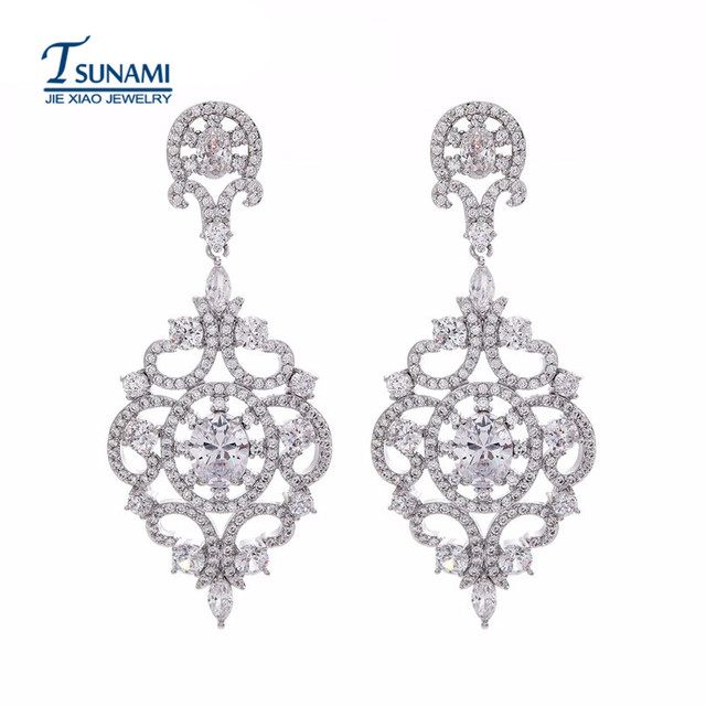 Luxury Micro Pave Cubic Zirconia Earrings Teamed The Bride Of 4 Kinds Color Zircon