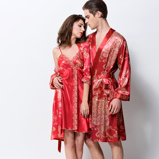 XIFENNI Lovers Bathrobes Emulation Silk Robe Sets High Quality Satin Silk Sleepwear Men Robes Women Nightgowns 1399/1398