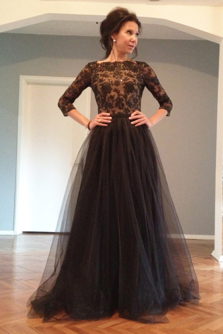 Online Get Cheap Long Sleeve Plus Size Black Backless Prom Dresses ...