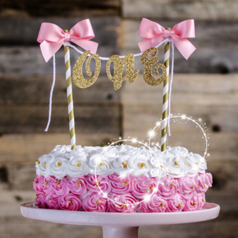 Hot Sale 1 Pcs Creative One Bow First Year Happy Bithday Cake