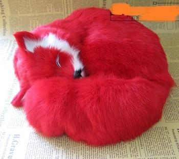 simulation red furs prone fox model large 27x27x12cm,polyethylene resin handicraft, home decoration gift a2437