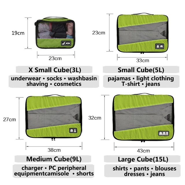 BAGSMART New Breathable Travel Bag 4 Set Packing Cubes Luggage Packing Organizers Weekend Bag Shoe Bag Fit 23 10
