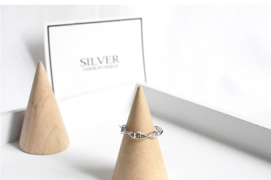 6Virgooer 925 Sterling Silver Open Ring Infinity DNA Chemistry Encircle Ring Jewelry For Women Men Wedding Rings Bijoux Minimalista