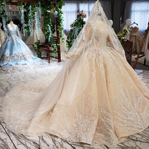 Image 3 - HTL462 princess ball gown wedding dresses long sleeve o neck appliques champagne lace wedding gowns with wedding veil mariage