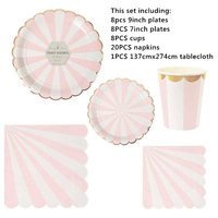 45pcs per set Wedding disposable Pink foil gold Scallop Paper Plates and paper napkin cups tablecover for party/baby shower