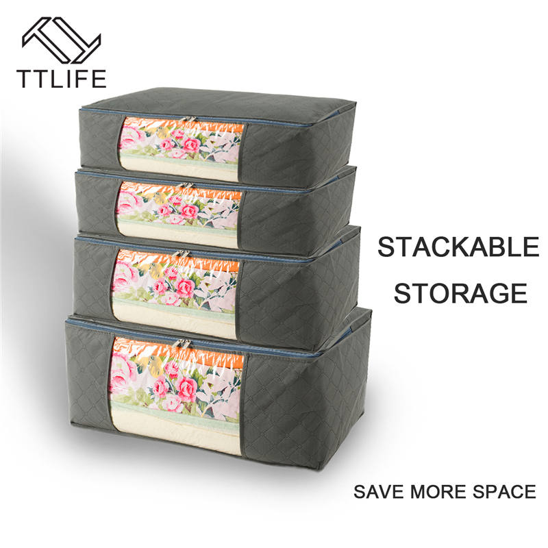 TTLIFE Large Storage Bag Box Portable Organizer Non Woven Pouch Storage Box Bamboo Clothing Storaging Bag on sale 5PCS