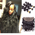 13*4 Ear To Ear Lace Frontal With Baby Hair And Bundles Brazilian Body Wave With Closure Queen Stema Hair With Frontal Closure
