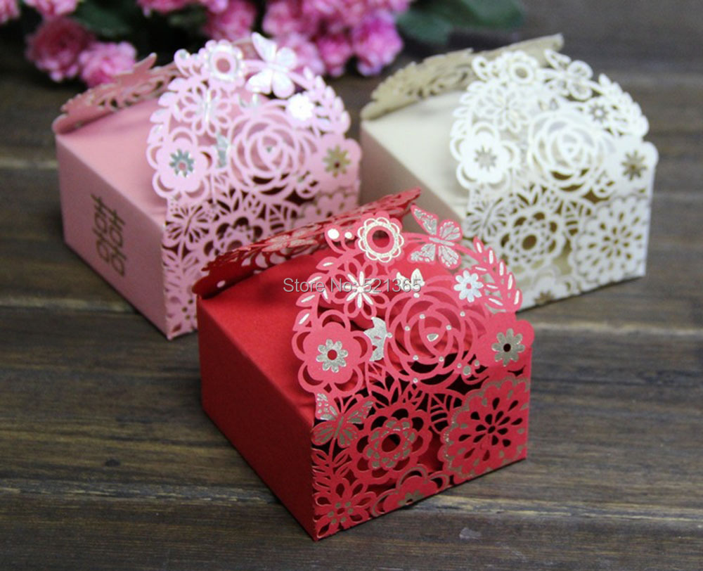 Wholesale 2000pcs/lot laser cut flower candy box wedding party ...
