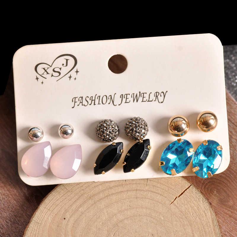 ใหม่แฟชั่นผู้หญิงเครื่องประดับขายส่งผู้หญิงวันเกิด pearl ear studs pins ชุด mashup 6 คู่/เซ็ตต่างหูจัดส่งฟรี