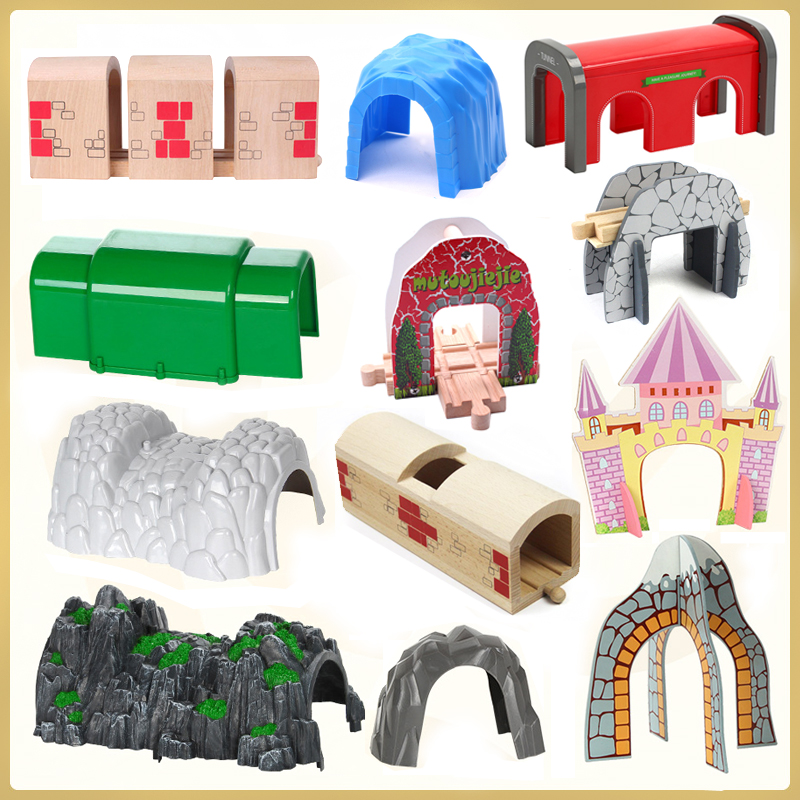 Tunnel Cave Small Train Building Block Track Accessories Accessories Children's Toys Compatible With BIRO Wooden Track