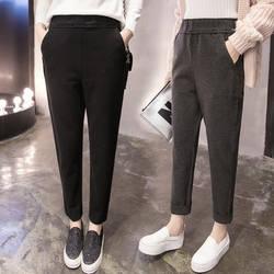 Женские шерстяные брюки 2018 осень-зима Модные женские повседневные брюки черные серые офисные женские штаны-шаровары женские шерстяные