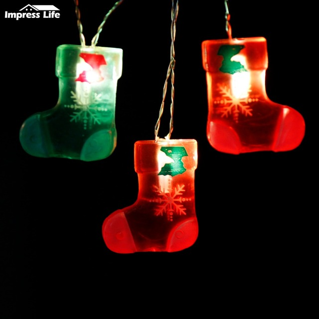 stocking string lights 10ft 20 leds big 3d socks shape christmas tree fairy lighting garland - Big Indoor Christmas Decorations