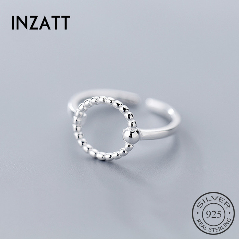 INZATT Real 925 Sterling Silver Geometric Hollow Round Ring For Fashion Women Party Gift Fine Jewelry Trendy Adjustable Ring