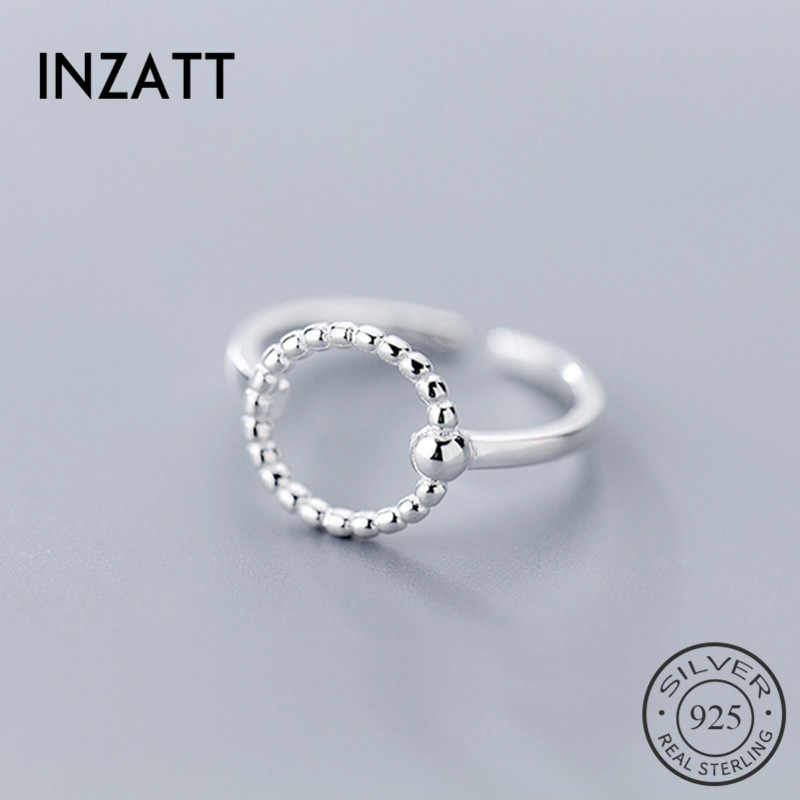 Inzatt Nyata 925 Sterling Silver Geometris Bulat Ring untuk Fashion Wanita Pesta Hadiah Perhiasan Trendi Cincin Adjustable