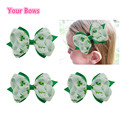 1PC 4Inches St.Patricks Day Shamrock Hair Bows Baby Girls Hair Clips Grosgrain Ribbon Baby Bows For Girls Hair Accessories