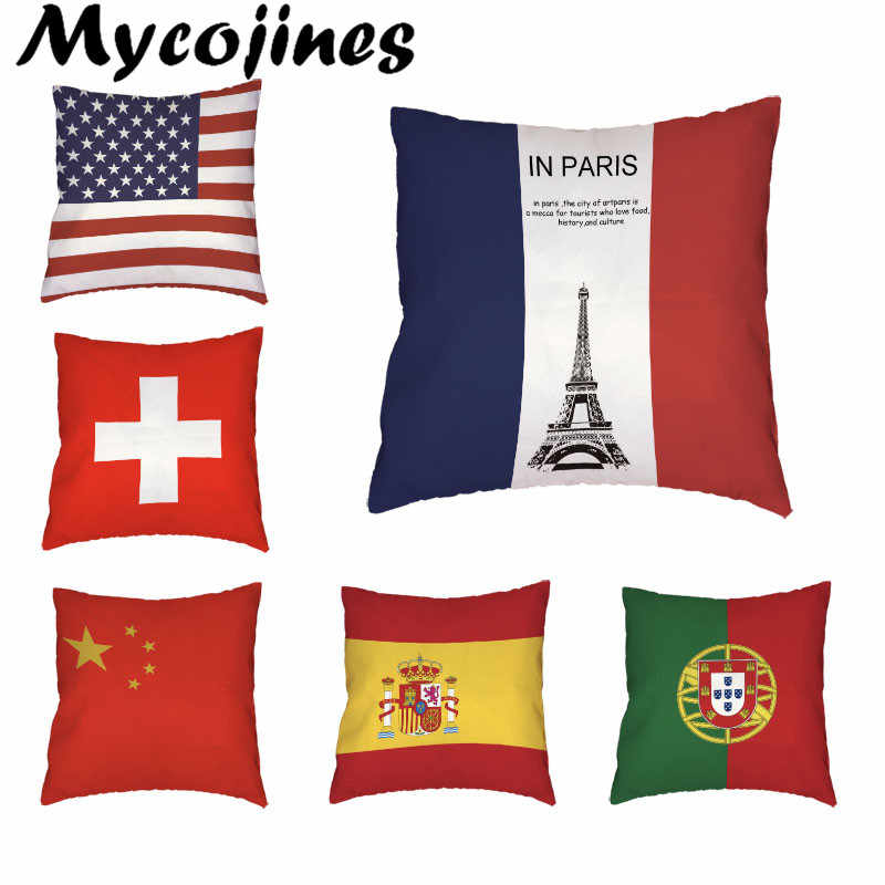 Wholesale Country Flag Throw Pillowcase English America Russia 45*45cm France China Argentina Cushion Cover Living Room Decorate