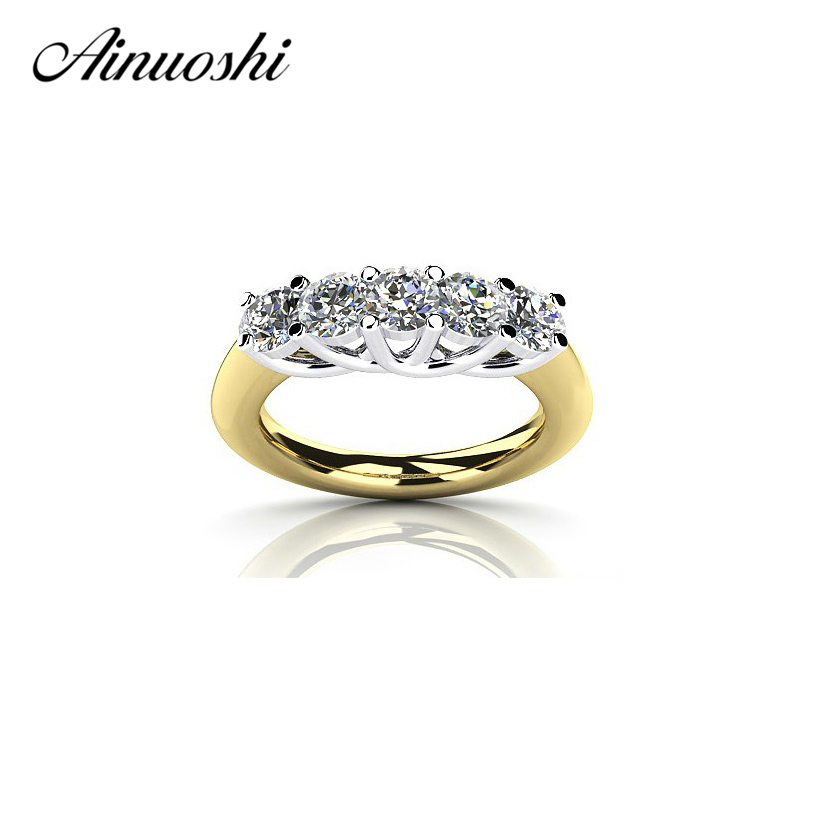 AINUOSHI Lucury Wanita Parti Cincin 925 Sterling Silver Yellow Emas Warna Row Drills Ring Wedding Band Sona Penglibatan Ring Bridal