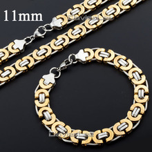 Davieslee 6/11mm Mens Boys Flat Byzantine Necklace Gold Silver(color) Stainless Steel Chain Bracelet Jewelry Set  DLKS117