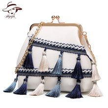 New Arrival National Tassel Mini Flap Women Bag PU Leather Shoulder Bags Chain Messenger Handbag High Quality Crossbody Clutch
