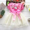 Summer Girls Princess dresses big bowknot pearl Petal baby short sleeve dress Childrens hotsale fashion dresses