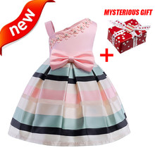 Girls Dress 2018 Sumer Flower Bowknot Girl Dresses for Kids Party Wedding Pink  Princess Dress Elegant Children Clothes Ball Gown 342bcd4bc85a