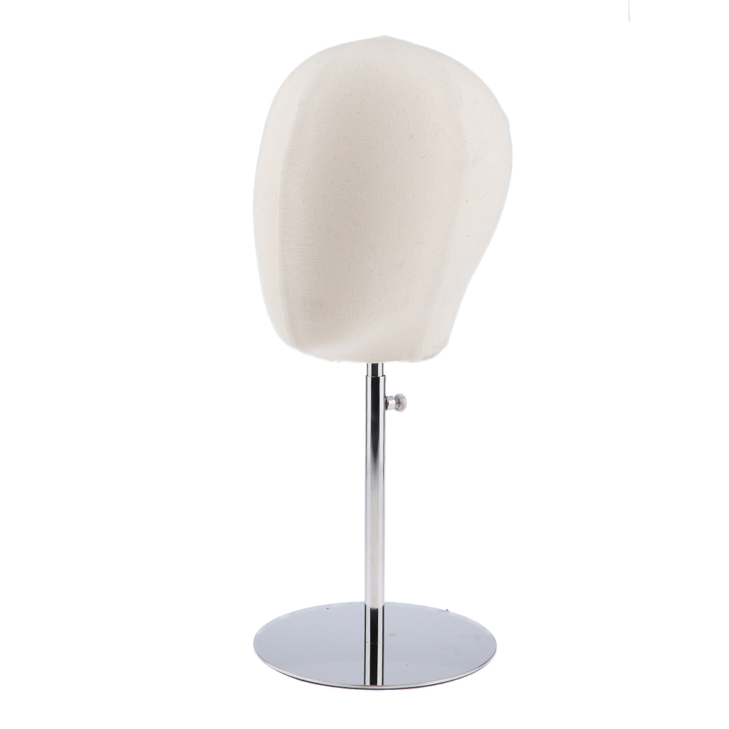 Adjustable Linen Cover Mannequin Head Hat Wig Stand Display Rack Wig Holder White(China)