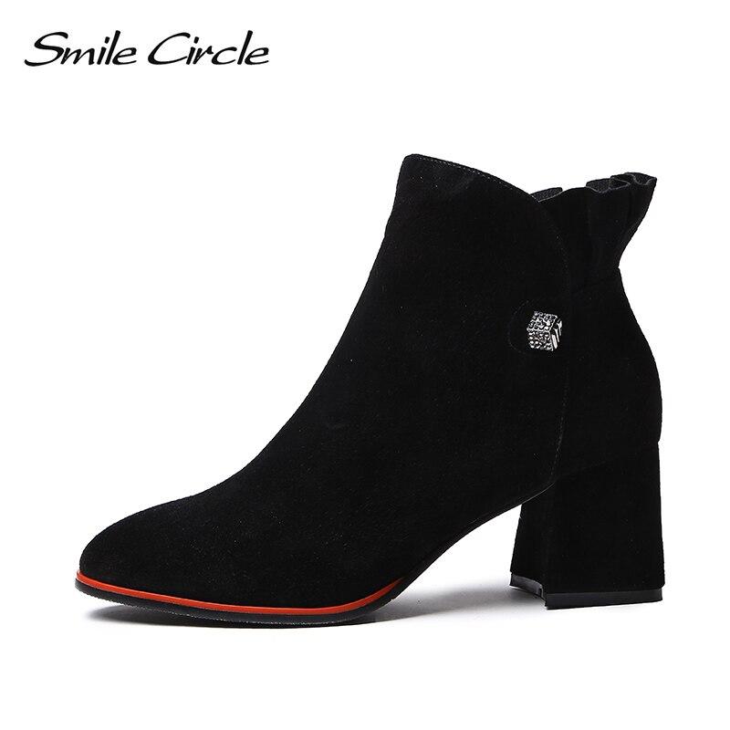 Noir Talon Cercle Courtes Bottes Pour Daim 2018 Pointu Sourire En Bout Femmes De Cheville Haute Haut Automne Chaussures Dames Qualité H4wdnqz