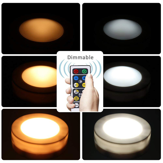 Dimmable Warm white+White Double Color Touch Sensor LED Puck Light Wireless LED Under Cabinet Light Kitchen Counter Closet Light