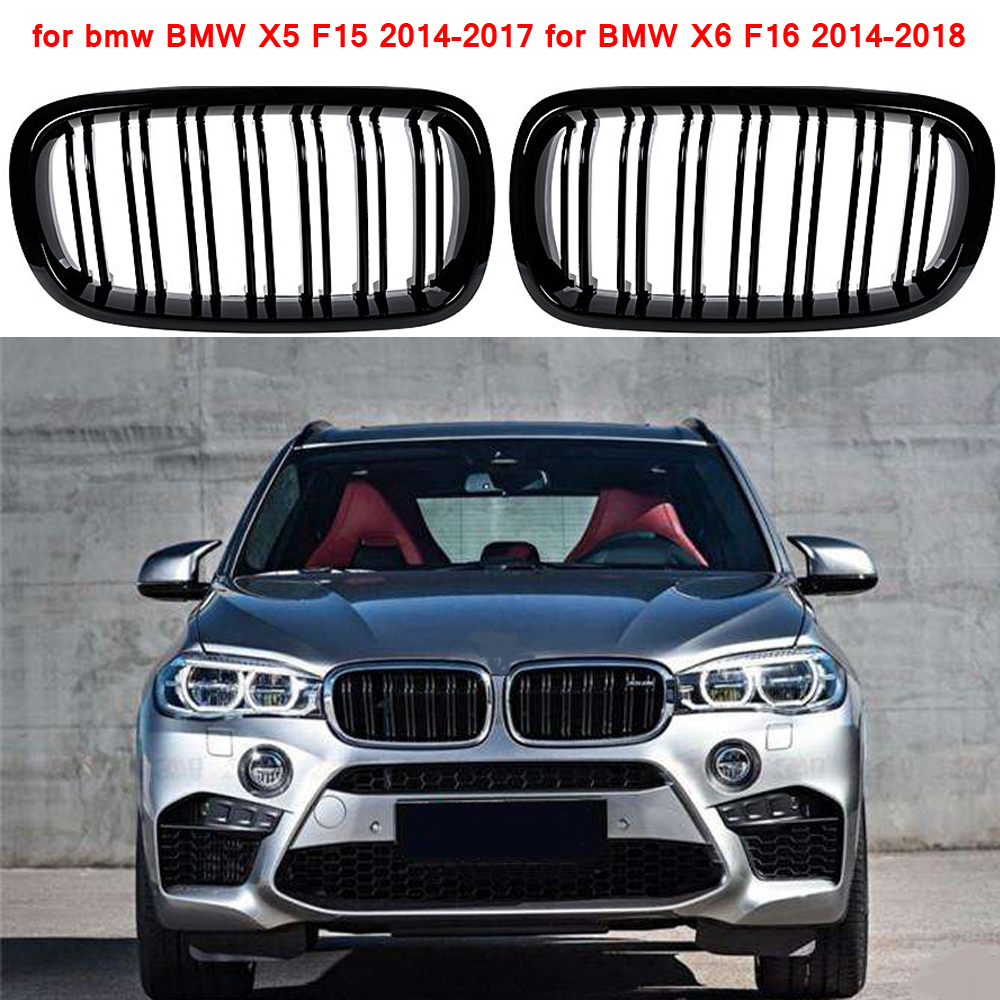 i-Shop 2014-2017 X5 F15 X6 F16 Glossy Black Sport Kidney Double Line Front Grille Grills Pair