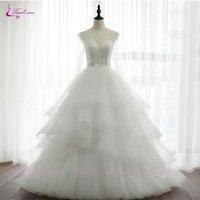 Waulizane/элегантное фатиновое бальное платье с круглым вырезом; Свадебные платья с бусинами и жемчугом; Длина до пола; Длинные рукава; свадебны
