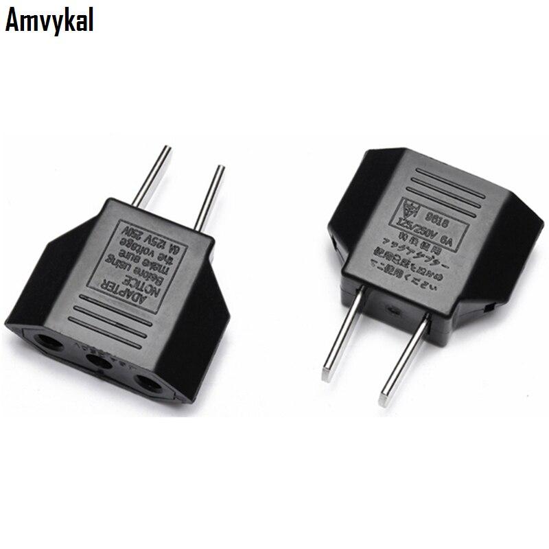 Amvykal Universal USA Travel AC Power Electrical Plug Socket EU To US Plug Adapter Converter 2 Pins Round 500 Pcs/lot