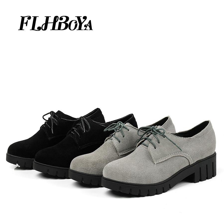 87acf2453 Woman Casual Square heels Soft Leather Retro Brogues Shoes Female British  Style Vintage Oxford Cut-