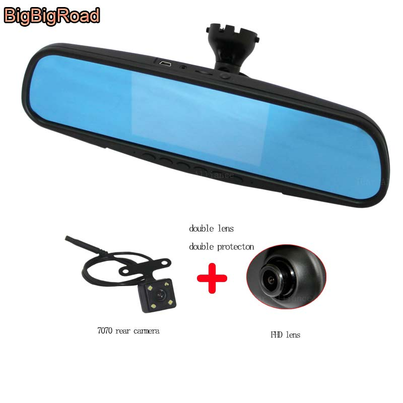 BigBigRoad For Porsche 911 Car Mirror DVR Camera Blue Screen Video Recorder Dash Cam Parking Monitor with Special Bracket bigbigroad for nissan qashqai car wifi dvr driving video recorder novatek 96655 car black box g sensor dash cam night vision