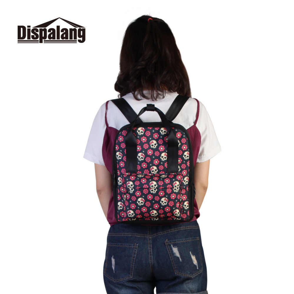 Dispalang Brand Women Backpack Skull In the Flowers School Backpacks For  Cool Girls oxford Laptop Shoulder Bag Female Travel Bag-in Backpacks from  Luggage ... d69bc9eeb1e84