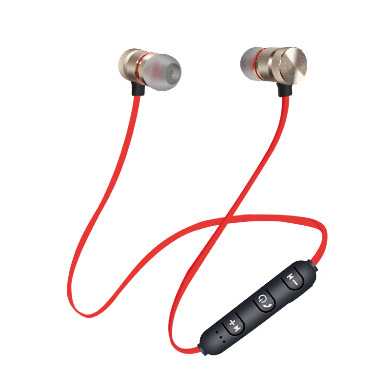 HEONYIRRY Metal Sports Bluetooth earphone Wireless headphones for sport Earbuds with microphone headset stereo headphone magnetic attraction bluetooth earphone headset waterproof sports 4.2