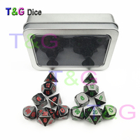 2 Sets Of Top Quality Shine Metal Game Dice Set Of D4 D20 With Red Green