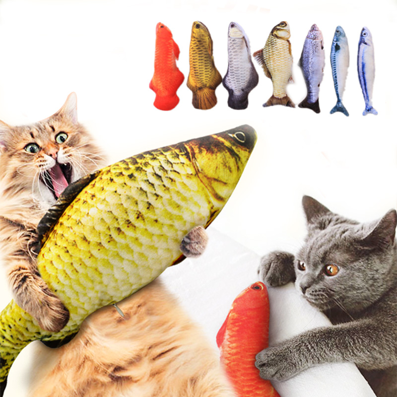 Cat Toy Doll Stuffed-Pillow Simulation Fish-Playing-Toy Pet Interactive-Gifts Fish-Shape