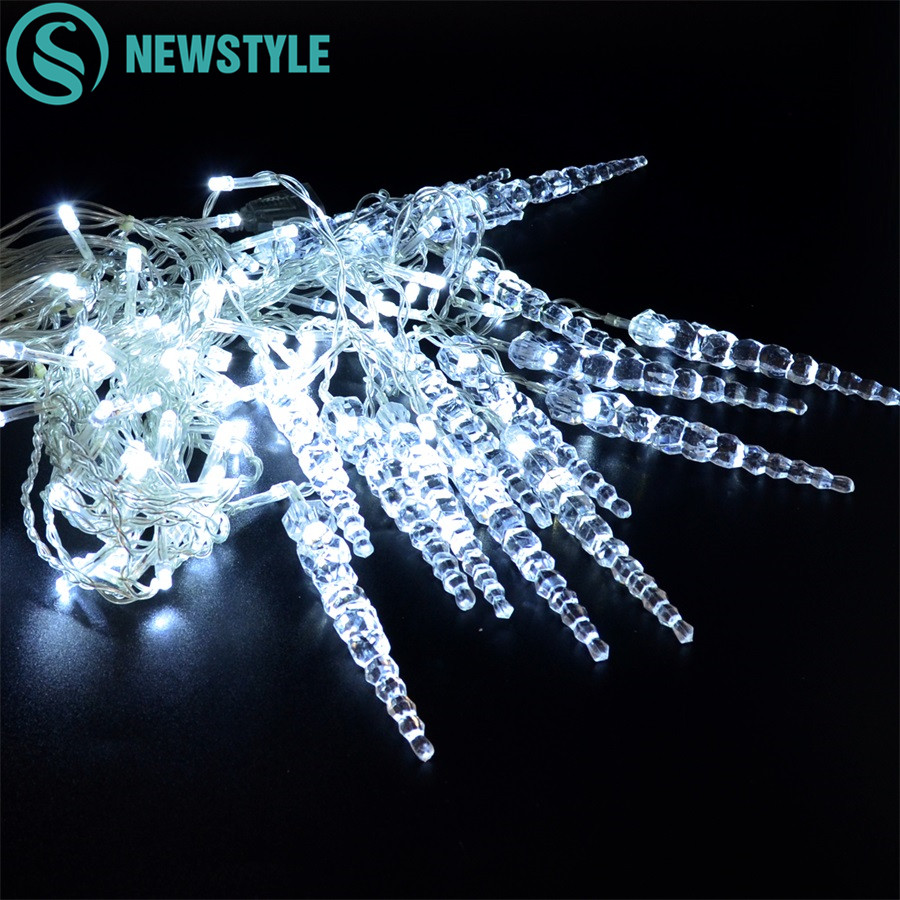 8 Modes Curtain Icicle Fairy String Lights 3.5M 96 Leds 220V Christmas Holiday Wedding Garland Decoration New Year Light String цены