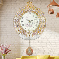 TUDA 2017 Korean Fashion Ideas Wall Clock Contemporary Sitting Room Large Mute Clock Contracted Rural Metal Quartz Clock